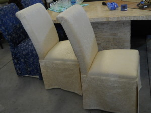 Parsons Dining Chairs Durable Cream Colored Brocade Upholstery. Additional Blue & Silver Brocade Slipcovers. (6) Available