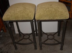 """3 Powder Coated Frames W/Foot Rest, Padded Fabric Seats Seat Height 24"""""""