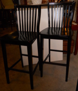 """3 All Wood Bar Stools W/Back Rest Seat Height 30"""""""