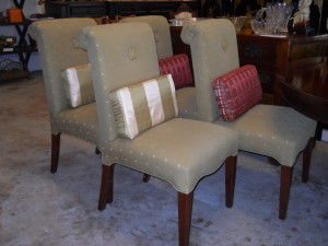 """Upholstered """"Slipper"""" Dining Chairs Set of Six"""