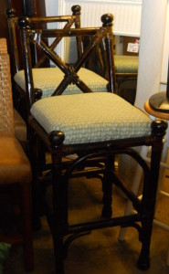 """Pair of Bamboo Bar Stools W/Backrest Upholstered Seats Seat Height 30"""""""