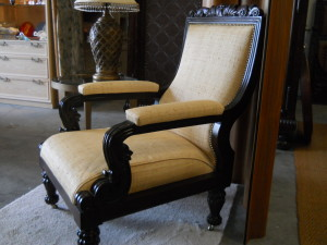 """Carved Wood Noble Arm Chair W/Raffia Upholstery H 40.5"""" x 27"""" x 33"""""""