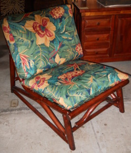 """Simple Comfy, Low Rattan Chair W/New Cushions H 27"""" X W 23"""" X D 34"""""""