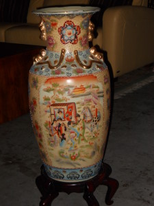 """Ceramic Chinese Vase On Stand Has a Plethora of Jewels 31.5 Tall 11"""" Diameter"""