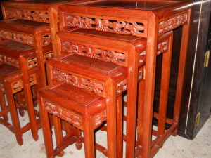 """Carved Rosewood Nesting Tables Set of 4 H 15.25""""-27"""" W 10""""-18"""" D 7.5""""-13.5"""""""