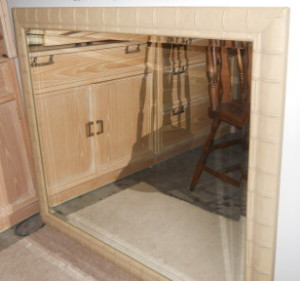 """Faux Bamboo Beveled Mirror 42"""" x 36"""""""
