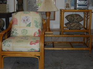 Natural Rattan Arm Chair, Coffee Table & End Table W/Glass Tops, Table Lamp W/White Shade