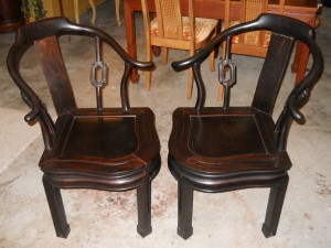 """Pair of Carved Rosewood """"Mahjong"""" Chairs 80-100 Years Old H32.5"""" x 23"""" x 20.5"""""""