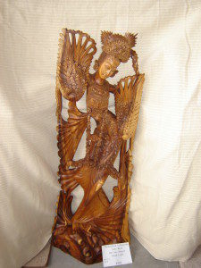 """<strong>Hand-carved Indonesian Suar Wood Baliese Dancer """"Good Luck""""</strong><br /> <strong>45.5""""Hx16""""W"""